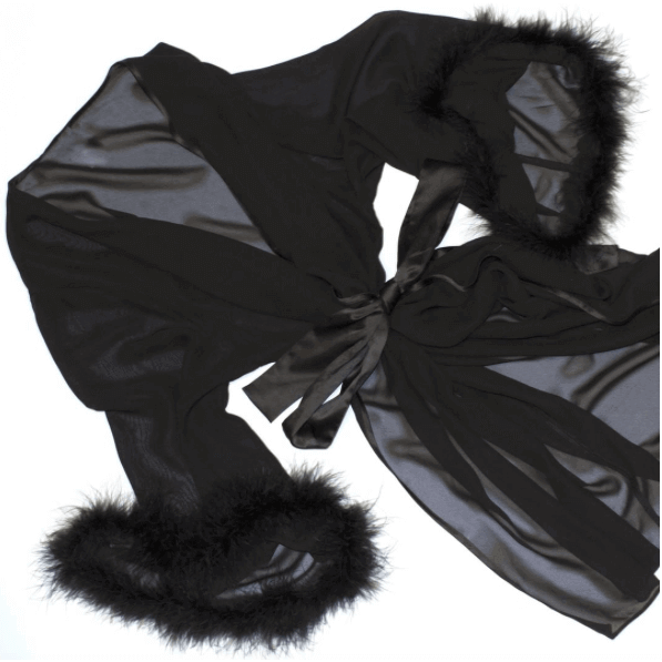 Black Bettie Page Ostrich Feather Robe, Lingerie, Playful Promises - Passionate Jade