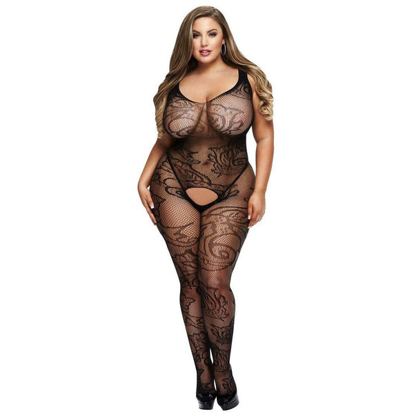 Crotchless Jacquard BodyStocking - Queen, Lingerie, Baci - Passionate Jade