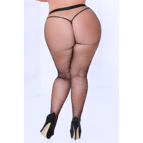 Crystal Rhinestone Fishnet Stockings Queen Size, Lingerie, Seven till Midnight - Passionate Jade