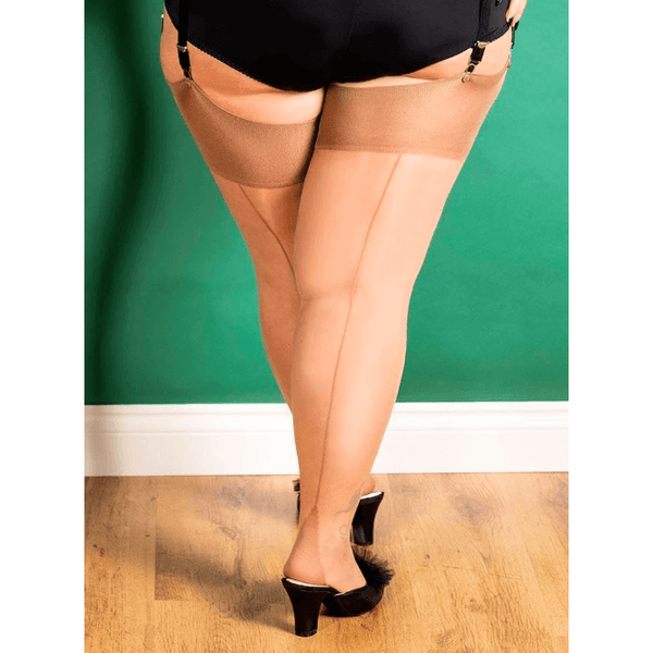 CURVE SEAMED STOCKINGS CH/LATTE, Linger, What Katie Did - Passionate Jade