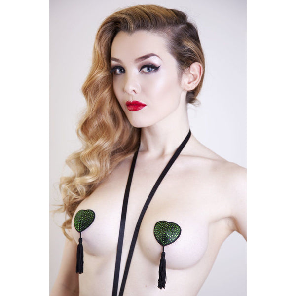FRIDA NIPPLE TASSELS – BLACK WITH GREEN STONES, Lingerie, Playful Promises - Passionate Jade