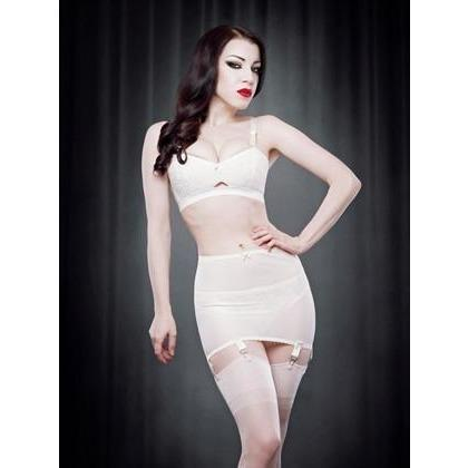 Kiss Me Deadly Vargas Rollon Girdle - Cream, Lingerie, Kiss Me Deadly - Passionate Jade