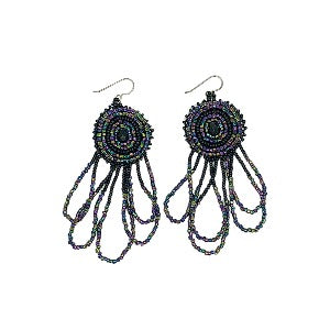 Beaded Earrings-Black Iridescent