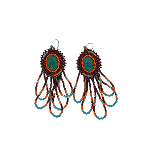 Beaded Earrings-Turquoise