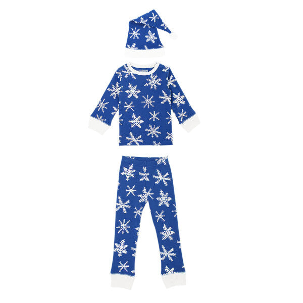 Organic Kids' L/Sleeve PJ & Cap Set-Snow-Ho-Ho