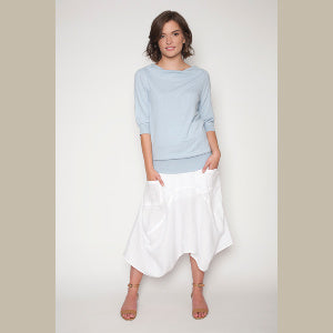 Drape Neck Organic Cotton Sweater