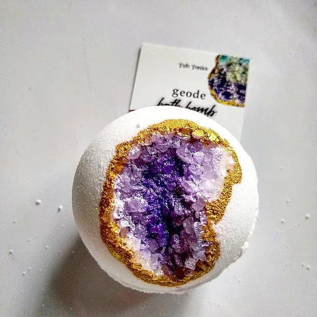 Bath bomb created to look like an amethyst crystal