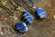 Wire wrapped Lapis pendents.