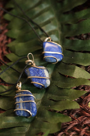 Wire wrapped Lapis pendents on a green leaf.