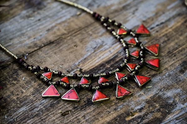 Red Triangle Necklace // Kuchi Tribe