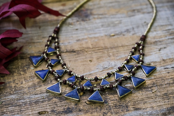 Lapis Lazuliz Triangle Necklace // Kuchi Tribe