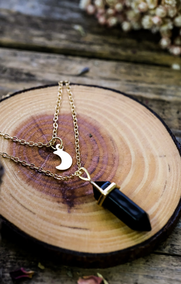 Crescent Moon & Faux Crystal Necklace