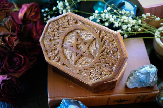 Hexagen Pentacle Carved Wooden Box