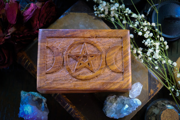 Triple Moon & Pentacle Carved Wooden Box