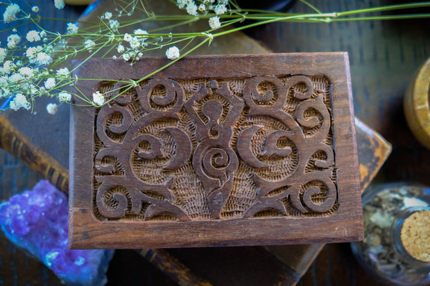 Goddess of Earth Carved Wooden Box