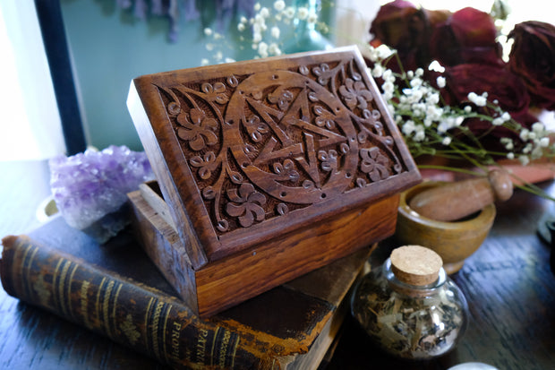 Pentacle Carved Wooden Box