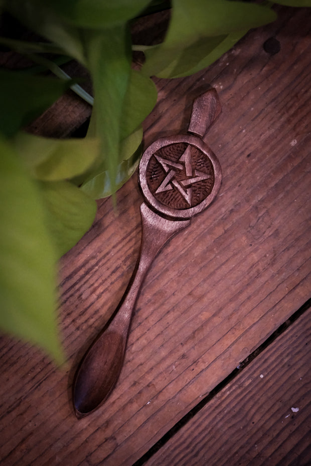 Pentacle Carved Wooden Altar Spoon