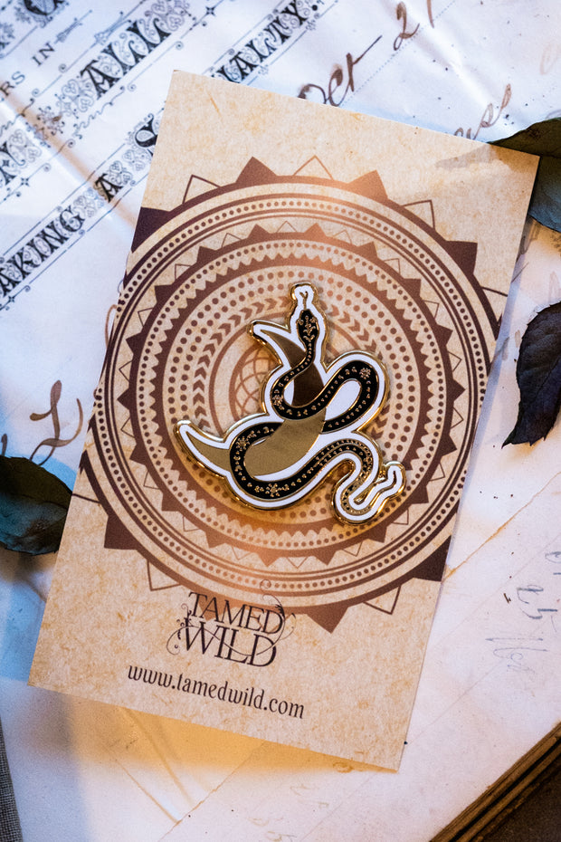 Serpent Moon Enamel Pin by Tamed Wild