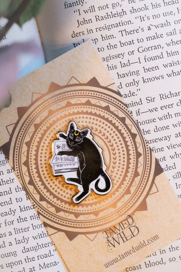 Spellbook Kitty Enamel Pin by Tamed Wild