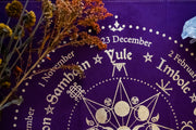 Wheel of the Year Altar Cloth//Royal Purple and Gold