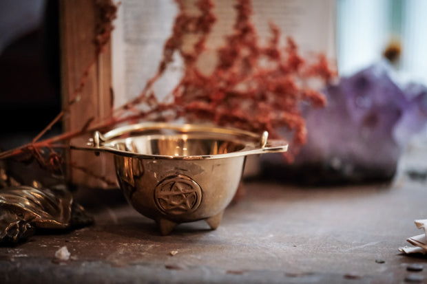 Brass Pentacle Cauldron 3 inch