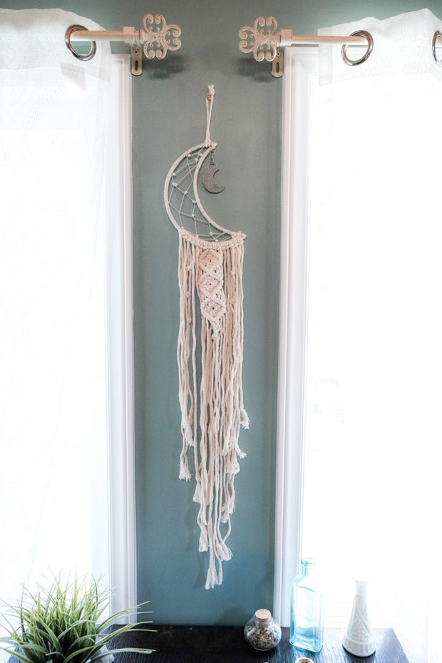 Crescent Moon Macrame Wall Hanging