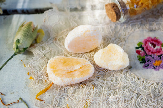 Orange Calcite seer stones.