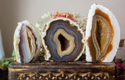 Three cut base agates displayed in a row on a wooden box. Colors vary from blue to brown and vary slightly in size.