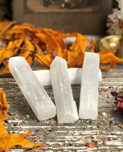 Selenite wands displayed out
