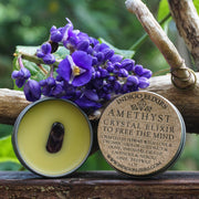 Product photo of amethyst balm with the lid off