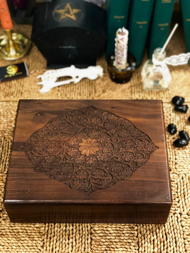 Large Carved Floral Box