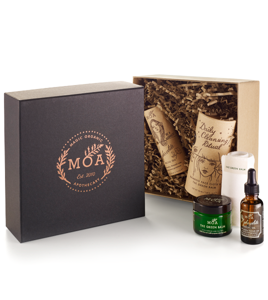 Box gift set including daily cleansing, cloth, and Aphrodite Facial Oil.