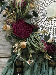 Dried Flowers on Green Silk Dreamcatcher