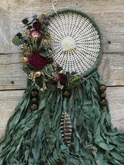 Green Silk Dreamcatcher with dried flowers