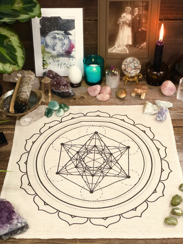 Tan crystal grid cloth.