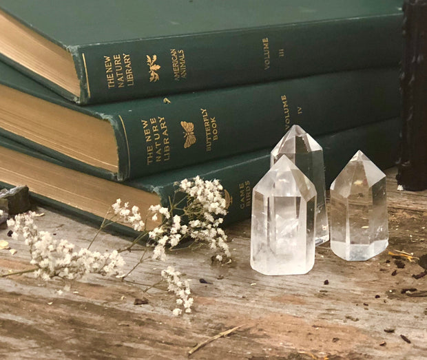 Three clear quartz towers.