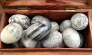 Agate Eggs in wood box