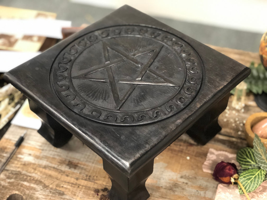 Wood Altar Table with Carved Pentacle