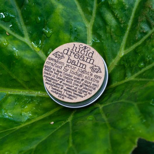 Tin of Lucid Dreams displayed on a leaf.