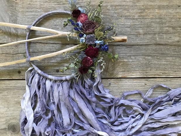Purple silk Dreamcatcher with dried flowers