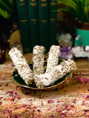 Four white sage sticks in a bowl.