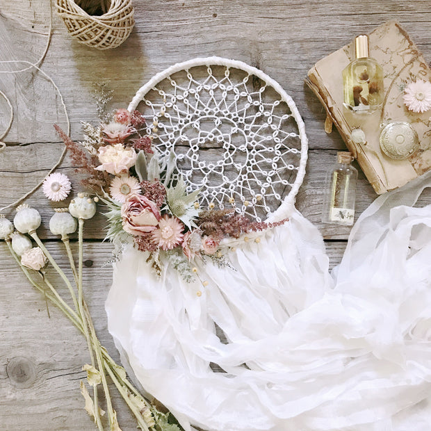 white silk dreamcatcher with peach dried flowers
