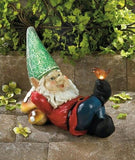 Gnome Relaxing on Mushrooms Solar Powered Garden Statue