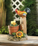 Rooster Watching Rotating Chicks Solar Powered Garden Statue