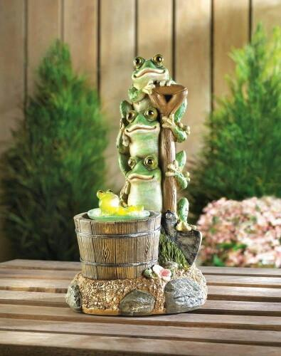 Stacked Frogs Over Rotating Baby Frog Solar Garden Statue