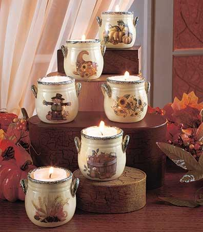 Holiday Tea Light Crocks Thanksgiving Set of 6 - My Home and Pet