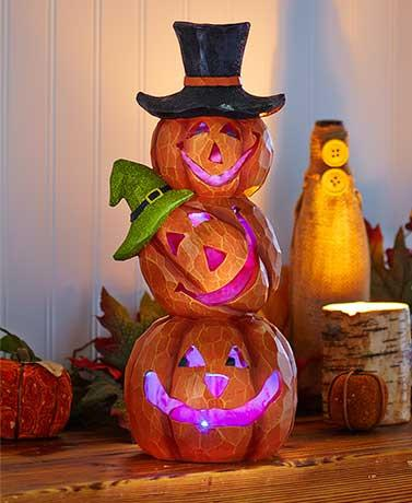 Holiday Lighted Stacked Pumpkins Color Changing - Cortez Candle's - 1