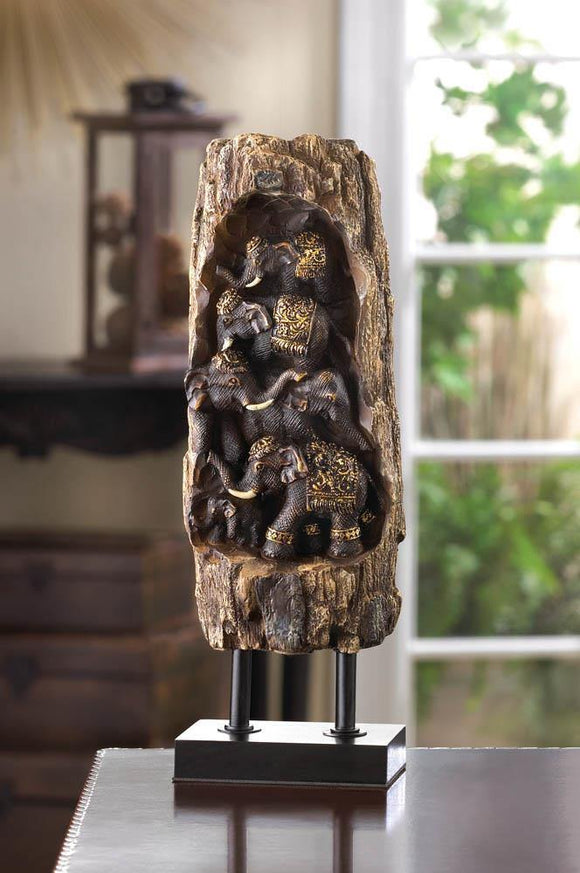 Statue Carved Elephant Totem Pole - Cortez Candle's - 1