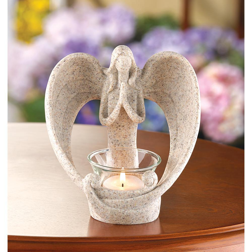 Candleholder Stone Angel - My Home and Pet