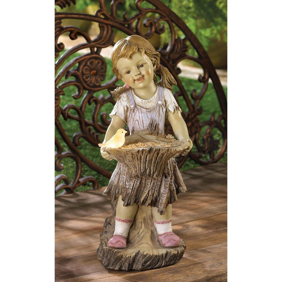 Solar Statue Country Girl Bird Feeder - Cortez Candle's - 1